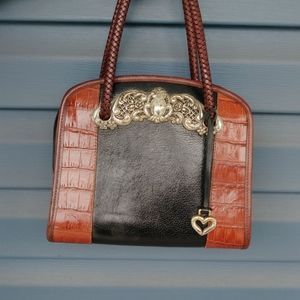 Brown and Black Leather Brighton Satchel
